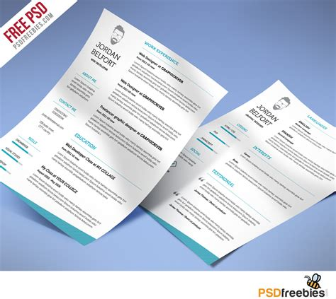Clean Resume Psd by Minimal And Clean Resume Free Psd Template Psdfreebies