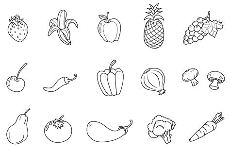 fruits  vegetables  art set  clip art