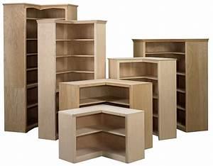 Corner Bookcase - Stark Wood Unfinished Furniture Stark