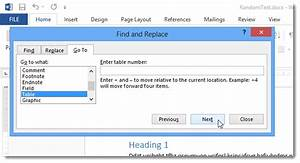 how to navigate directly from one table to another in word With document to go word