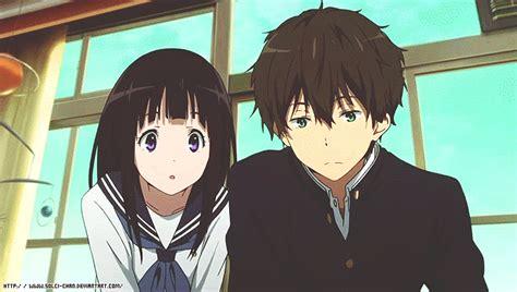 anime like hyouka with more romance oreki and chitanda gif by solci chan hyouka