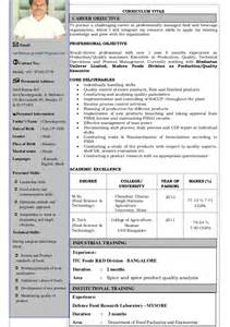 resume format for freshers food technologist cv sunil food technology