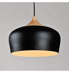 Modern industrial pendant light made of wood and black
