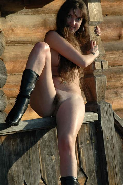 Longhaired Angelika Posing Naked By An Old House Russian Sexy Girls