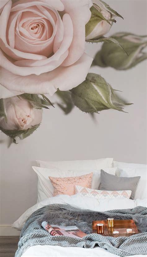 elegant pink rose wall mural   pink bedroom decor