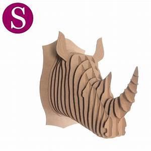 Trophée Animaux Carton : petit troph e t te de rhinoc ros en carton brun de l 39 atelier chez soi ~ Melissatoandfro.com Idées de Décoration