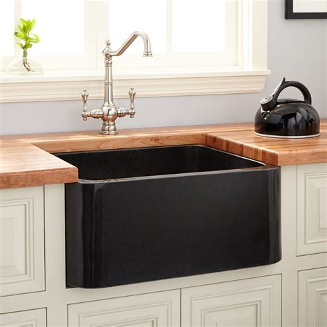 "24"" Polished Granite Farmhouse Sink  Black  Kitchen"