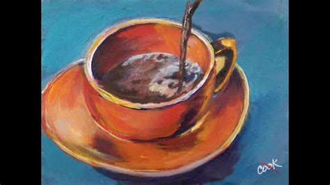 Learn to paint stacked coffee cups step by step! Simple Coffee Painting Busy Artist Acrylic Video for ...