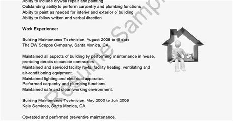 Building Maintenance Resume Exles by Resume Sles Building Maintenance Technician Resume Sle