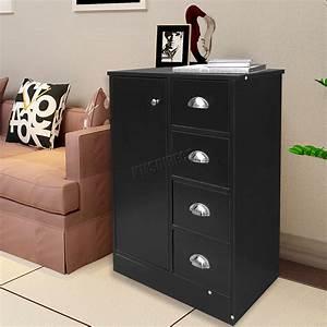 Foxhunter, 4, Drawer, 2, Shelves, Bathroom, Storage, Cupboard, Cabinet, Unit, Bs03, Black