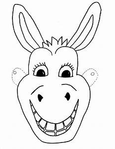 Animal mask template animal templates free premium for Donkey face mask template