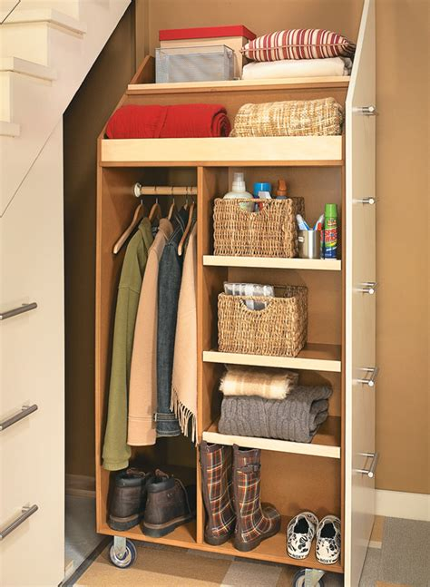 The first step i took to get this closet organized was to key in on what this closet needed to be used for. Under-Stair Storage Cabinet   Woodworking Project ...