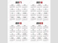 2017 年日历 2018年、 2019年、 2020年 — 图库矢量图像© Volykievgenii
