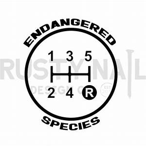 5-speed Endangered Species Gear Shift Decal