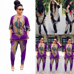 Fashion Women African Print Casual Straight Long two-piece suit Tops+Pants | eBay