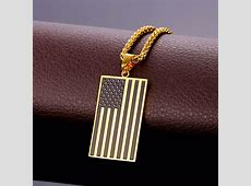 US Flag Necklaces & Pendants Gold Plated Stainless Steel
