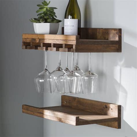 bernon rustic wall mounted wine glass rack reviews allmodern
