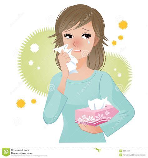 woman suffering  pollen allergies stock vector