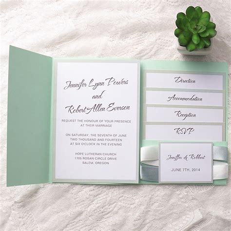 chic mint green pocket ribbon wedding invitations EWPI130 as low as $1.69
