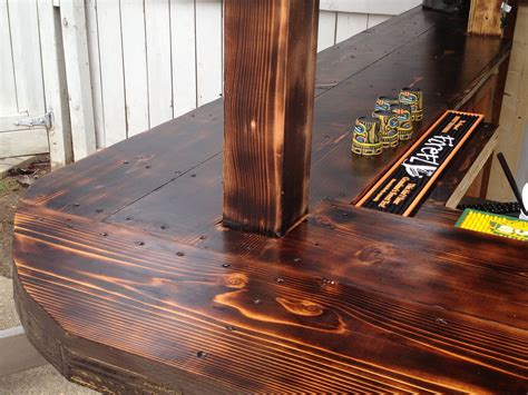 Bar Top Ideas by Cedar Bar Top Attached With Nails Finished With