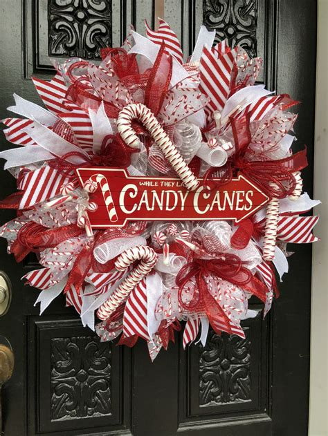 christmas wreath candy cane wreath holiday wreath diy