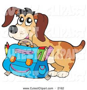 Cute Dog with Backpack Clip Art