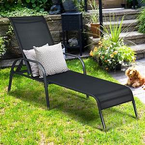 Goplus, Patio, Chaise, Lounge, Outdoor, Folding, Recliner, Chair, W, Adjustable, Backrest, Black