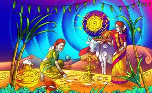 Two women praying cattle with festival of pongal, Tamil