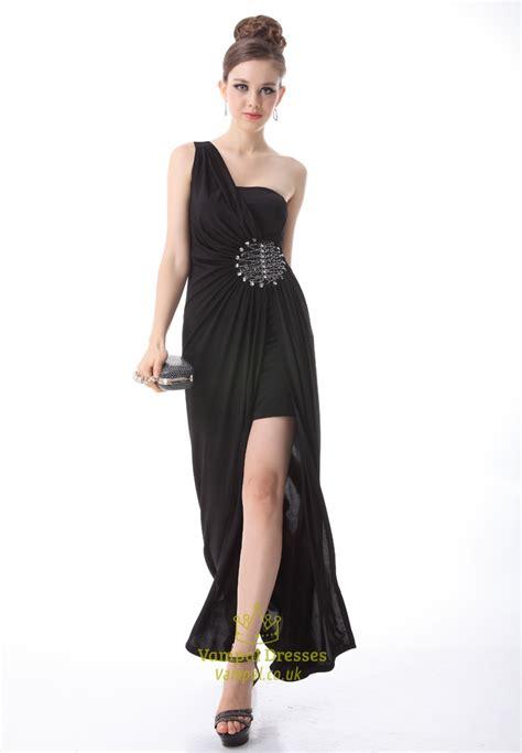 black  shoulder prom dresses long black