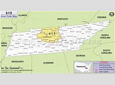 615 Area Code Map, Where is 615 Area Code in Tennessee