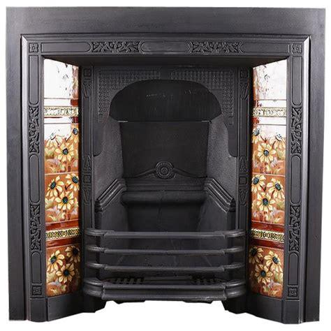 antique edwardian art nouveau fireplace insert circa