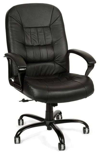 big black leather swivel desk chair w padded arms