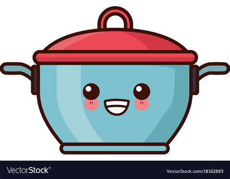 Pot With Lid Kitchen Utensil Kawaii Cute Cartoon Vector Image