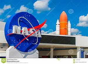 NASA Logo And Atlantis Space Shuttle At Kennedy Space ...