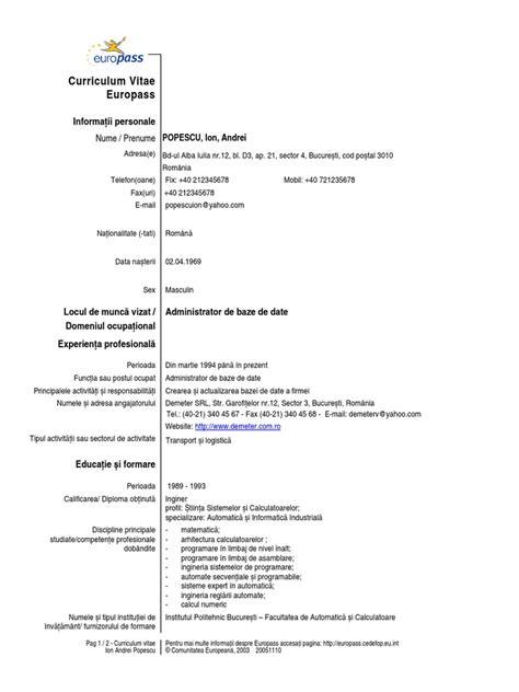 Model De Cv Word 2015 by Model Cv European Completat