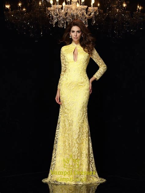yellow lace long sleeve open  mermaid prom gown