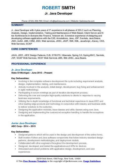 junior java developer resume sles qwikresume
