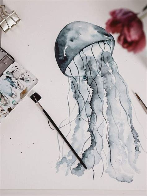 tutorial watercolor jellyfish aquarell qualle malen fuer