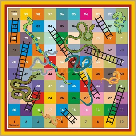 Snake Ladder Ludo Print & Play Stock Illustration