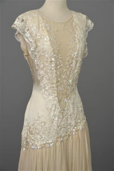 vintage   beaded lace silk chiffon flapper dress