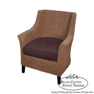 pottery barn seagrass woven rope wingback arm chair