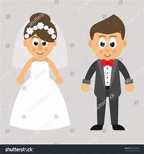 Cartoon Cute Bride Groom Vector Stock Vector 585632849 ...