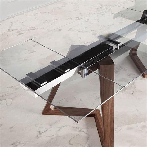 mesa comedor extensible  tapa de cristal  patas de madera