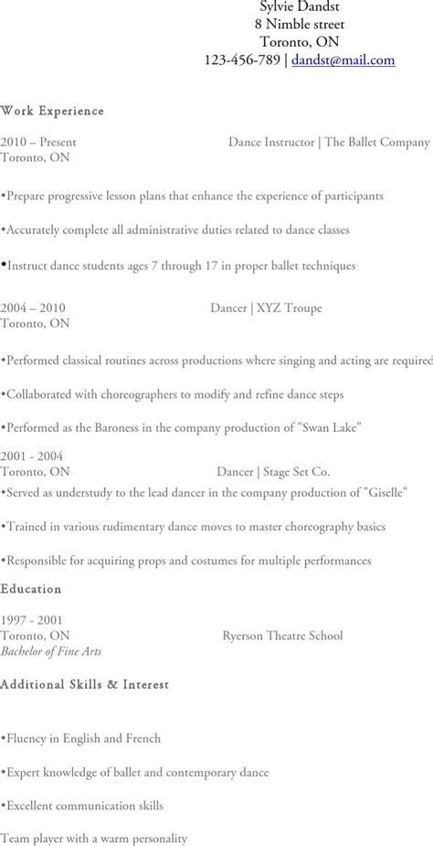 dancer resume templates free premium