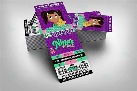 ninas world ticket style birthday cartoon invites