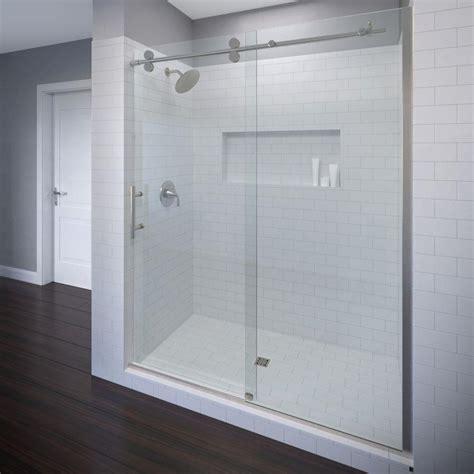 sliding frameless shower doors basco vinesse 59 in x 76 in semi frameless sliding