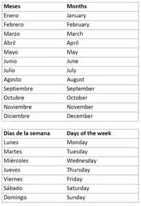 Spanish Months and Days Worksheets
