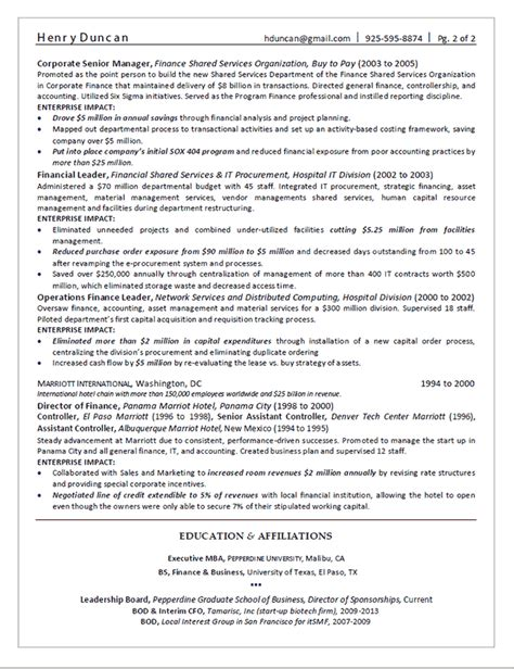 director of finance resume exle