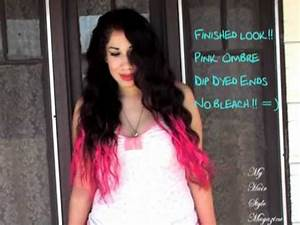 How to DIY Dip Dyed Ombre Neon Pink Hair Style without