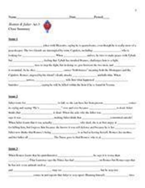 Romeo & Julietact 3 Cloze Summary Worksheet For 8th  9th Grade  Lesson Planet